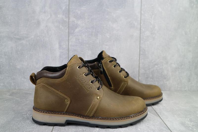 Мужские ботинки кожаные зимние оливковые yuves 781 - Фото 5