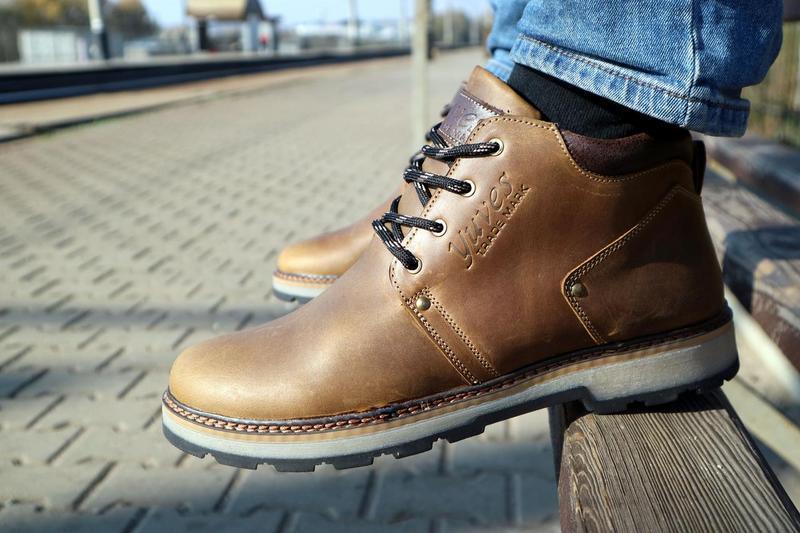 Мужские ботинки кожаные зимние оливковые yuves 781 - Фото 6