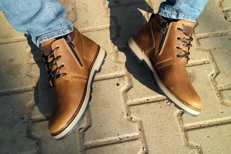 Мужские ботинки кожаные зимние оливковые yuves 781 - Фото 7