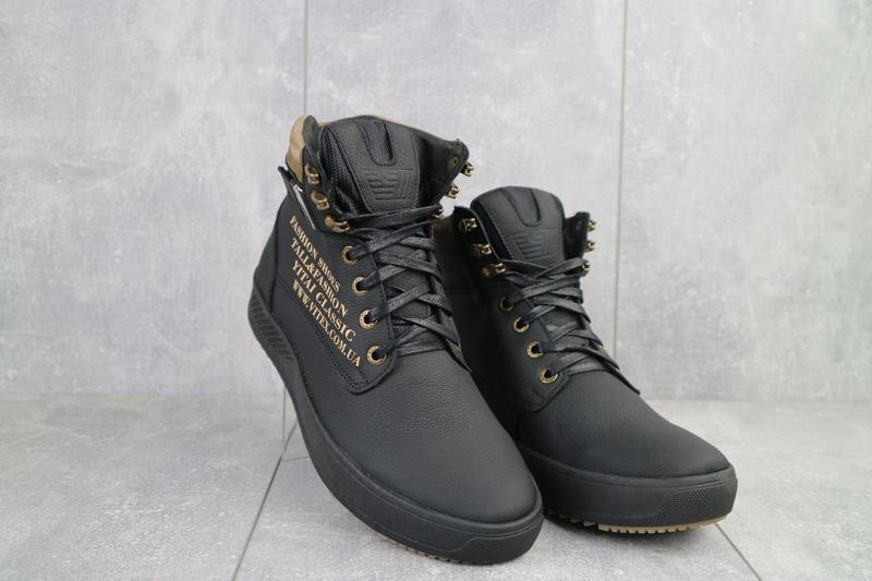 Мужские ботинки кожаные зимние черные vitex 0210
