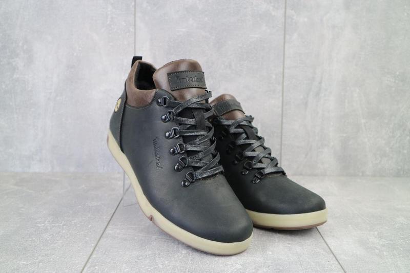 Мужские ботинки кожаные зимние черные-матовые yuves 773