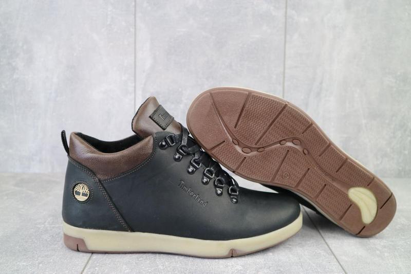 Мужские ботинки кожаные зимние черные-матовые yuves 773 - Фото 4