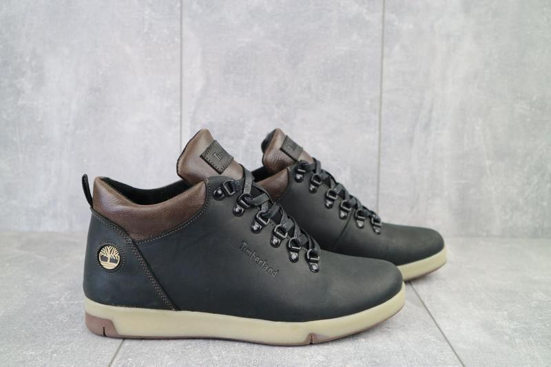 Мужские ботинки кожаные зимние черные-матовые yuves 773 - Фото 5
