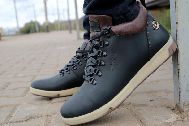 Мужские ботинки кожаные зимние черные-матовые yuves 773 - Фото 6