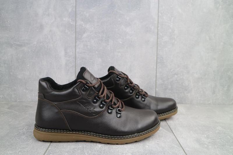 Мужские ботинки кожаные зимние коричневые yuves 600 - Фото 2