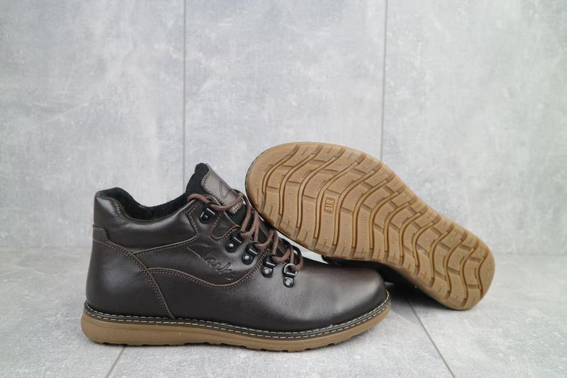 Мужские ботинки кожаные зимние коричневые yuves 600 - Фото 3