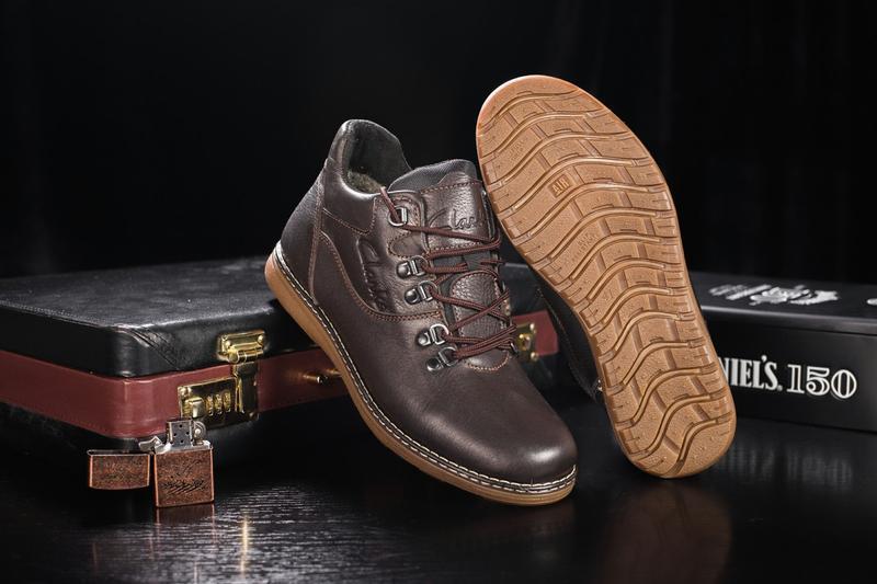 Мужские ботинки кожаные зимние коричневые yuves 600 - Фото 5
