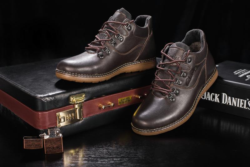 Мужские ботинки кожаные зимние коричневые yuves 600 - Фото 6