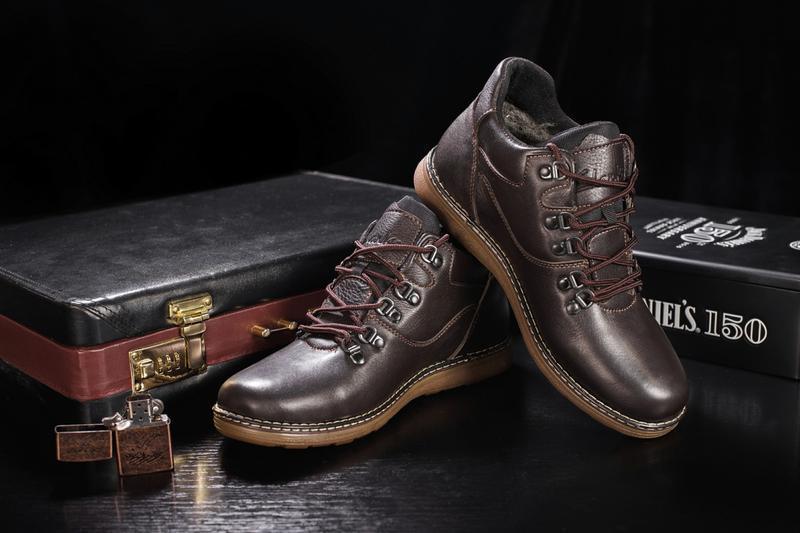 Мужские ботинки кожаные зимние коричневые yuves 600 - Фото 7