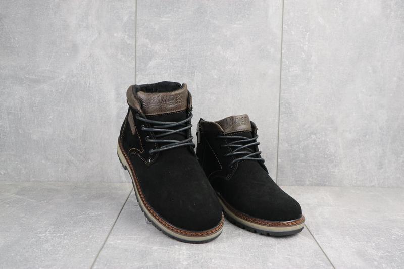 Подростковые ботинки замшевые зимние черные yuves 784