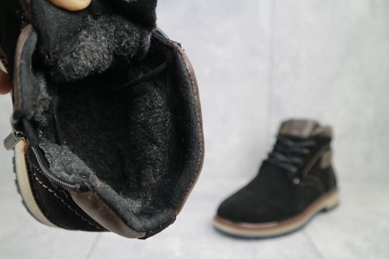 Подростковые ботинки замшевые зимние черные yuves 784 - Фото 2