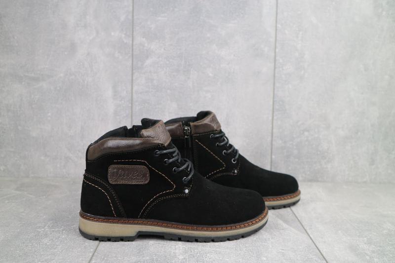 Подростковые ботинки замшевые зимние черные yuves 784 - Фото 3