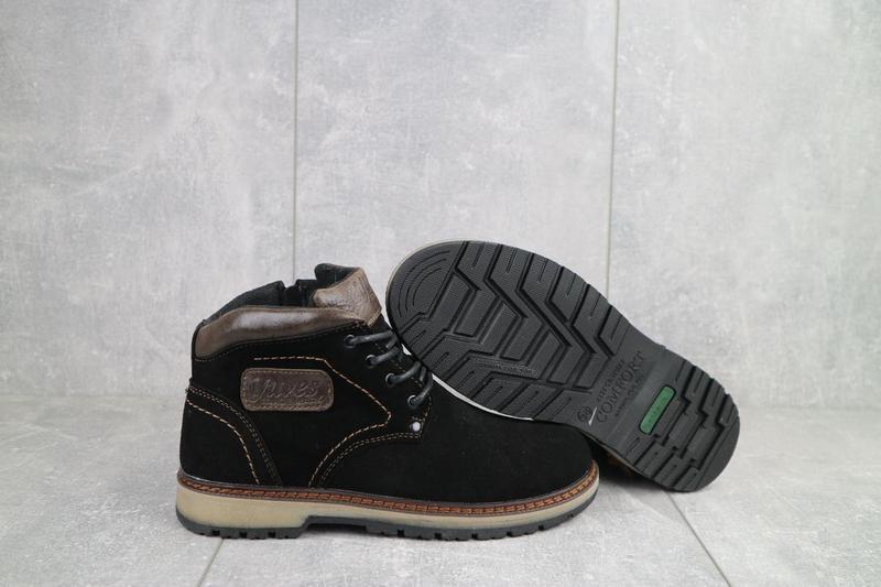 Подростковые ботинки замшевые зимние черные yuves 784 - Фото 4