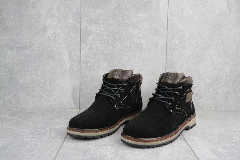 Подростковые ботинки замшевые зимние черные yuves 784 - Фото 5