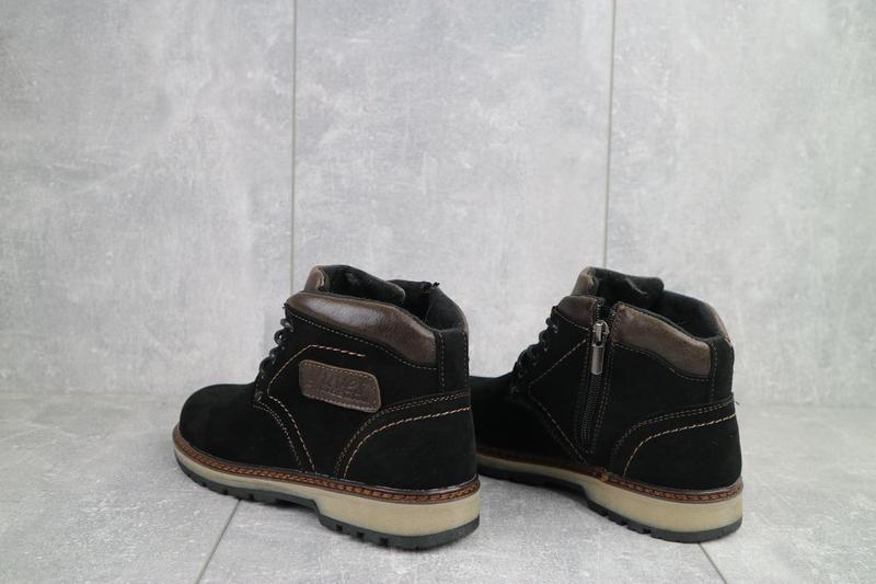 Подростковые ботинки замшевые зимние черные yuves 784 - Фото 6