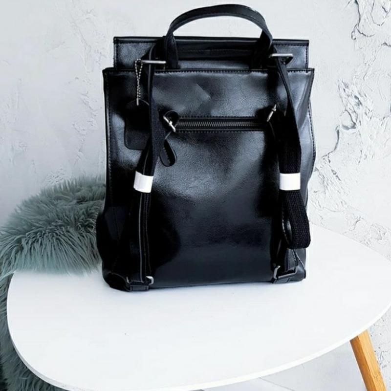 Женский кожаный рюкзак шкіряний жіночий сумка трансформер - Фото 3