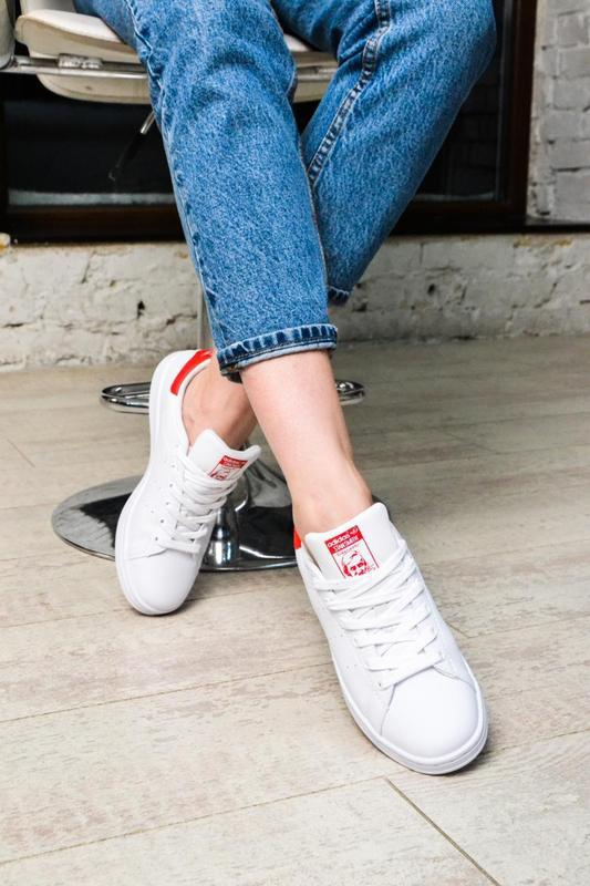 Модные кроссовки 💪adidas stan smith white red💪