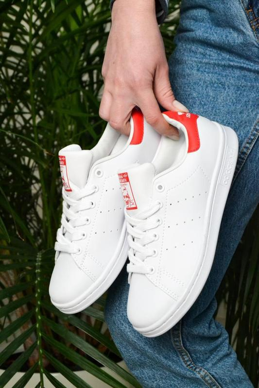 Модные кроссовки 💪adidas stan smith white red💪 - Фото 3