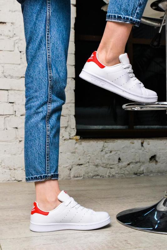 Модные кроссовки 💪adidas stan smith white red💪 - Фото 6