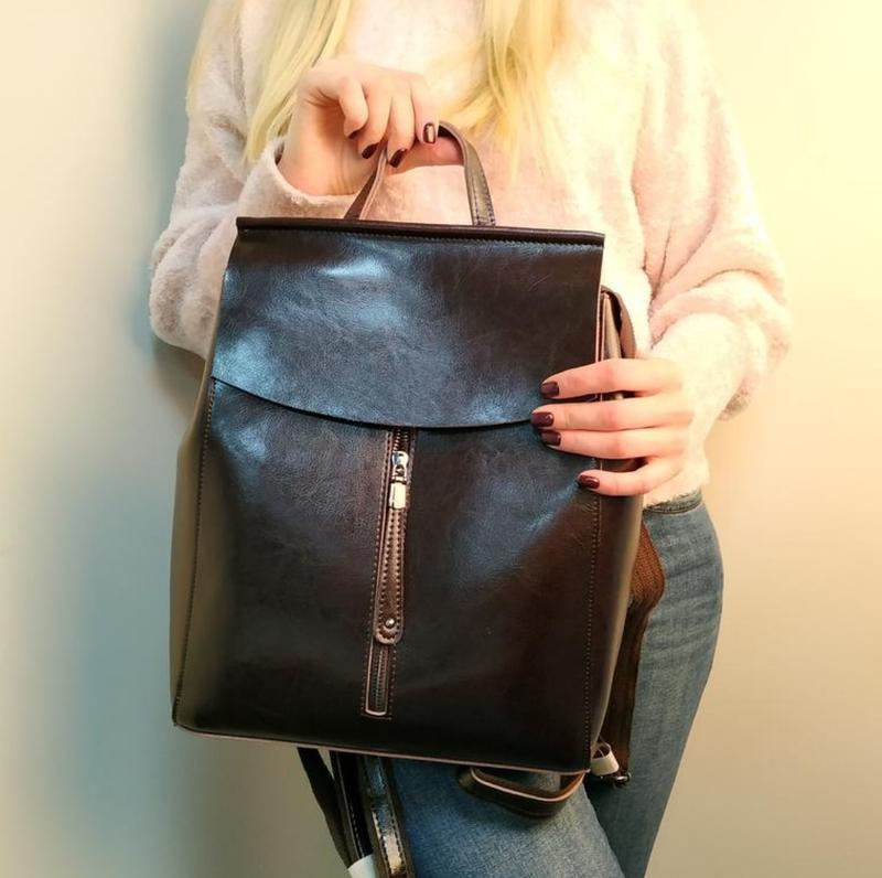 Сумка женская рюкзак кожа - Фото 6