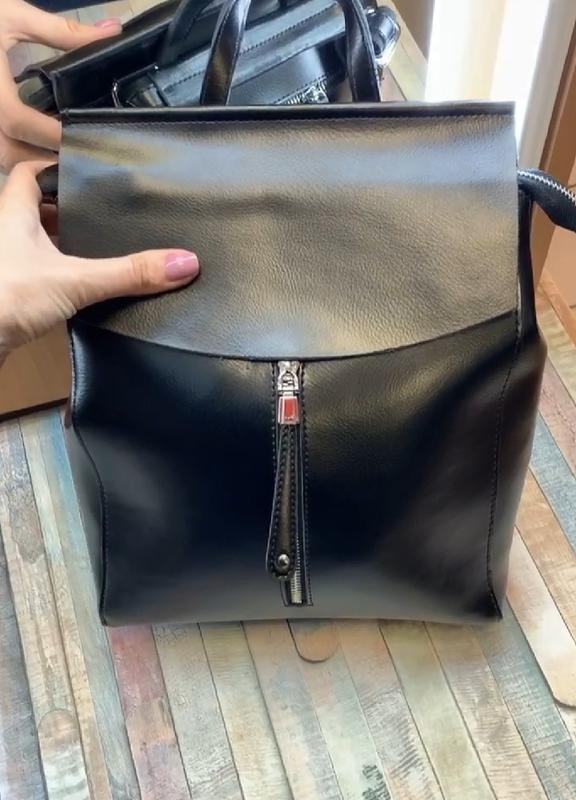 Сумка женская рюкзак кожа - Фото 7