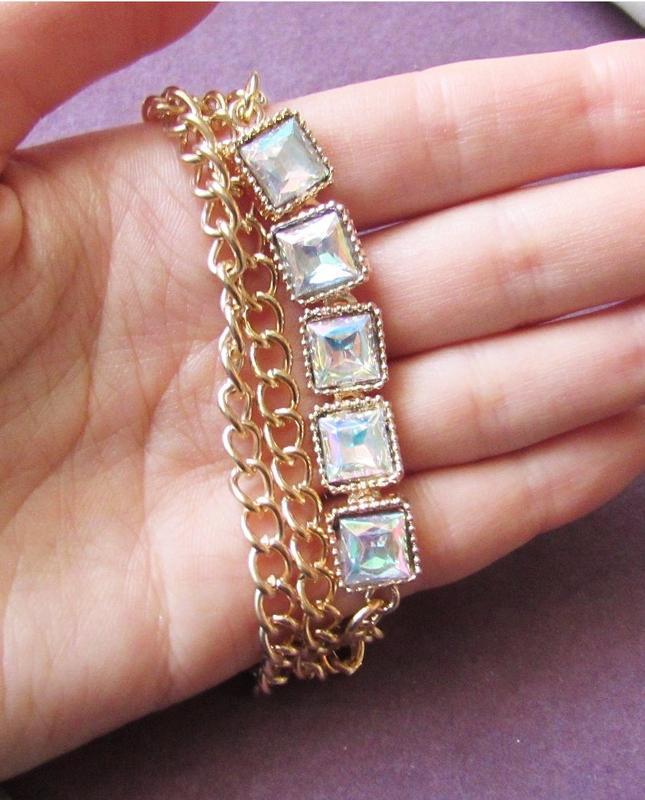 🏵стильный браслет цепи с кристаллами, новый! арт. 6921