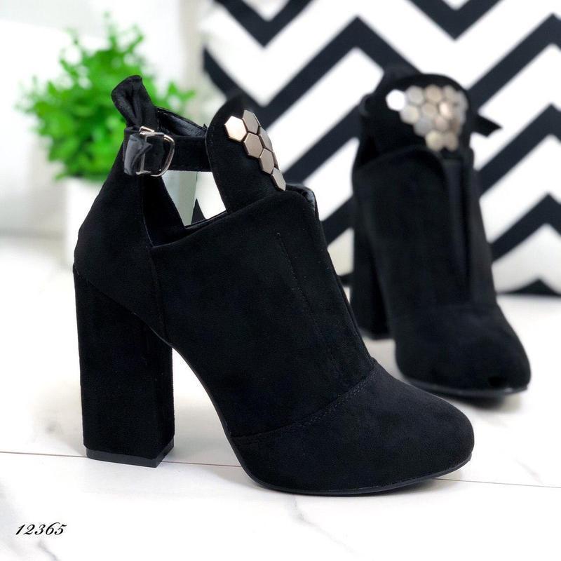 Ботильоны женские замшевые черные на каблуке