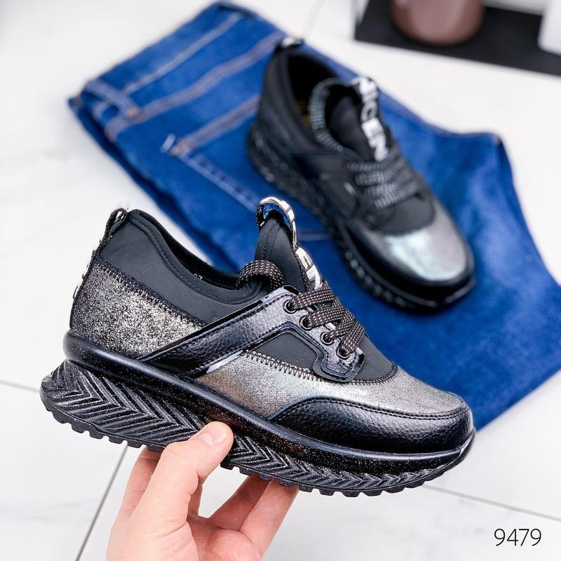 Кожаные демисезонные кроссовки, модные кроссовки на платформе ... - Фото 2