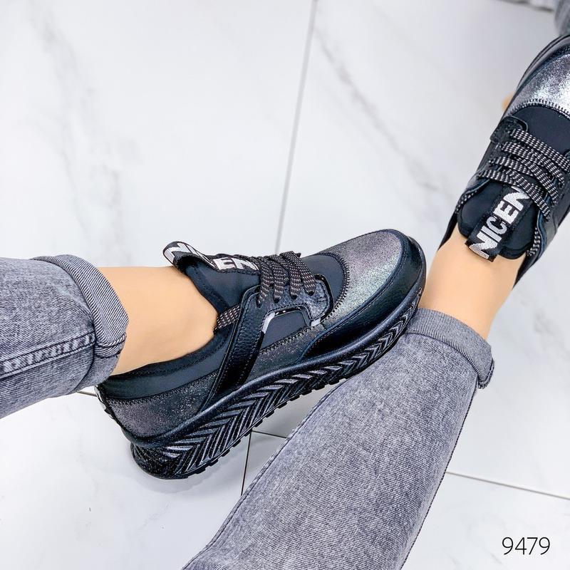 Кожаные демисезонные кроссовки, модные кроссовки на платформе ... - Фото 3