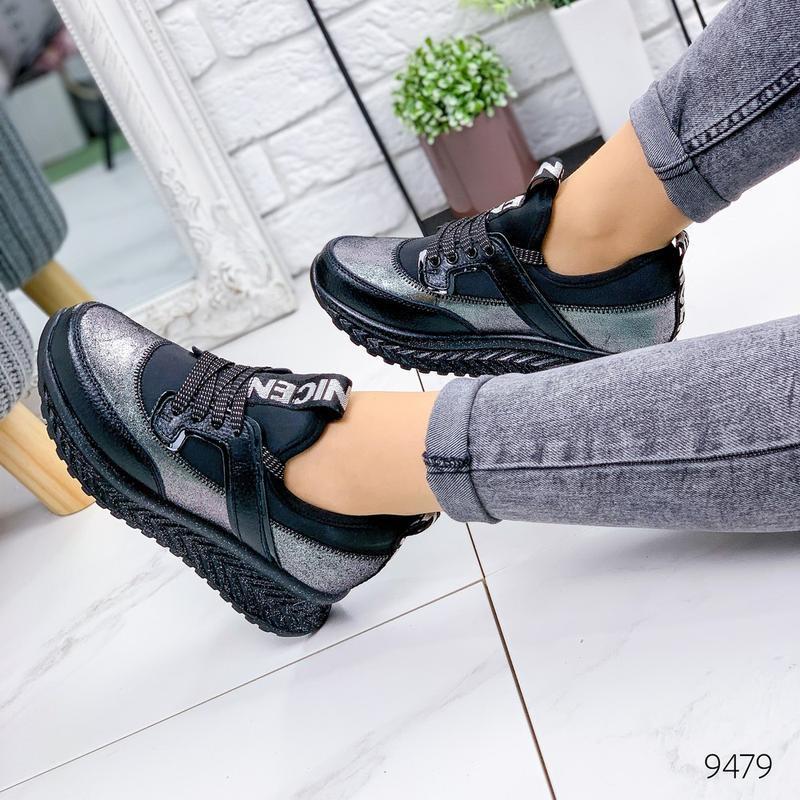 Кожаные демисезонные кроссовки, модные кроссовки на платформе ... - Фото 6