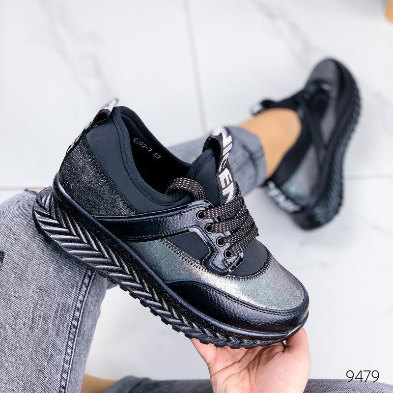 Кожаные демисезонные кроссовки, модные кроссовки на платформе ... - Фото 7