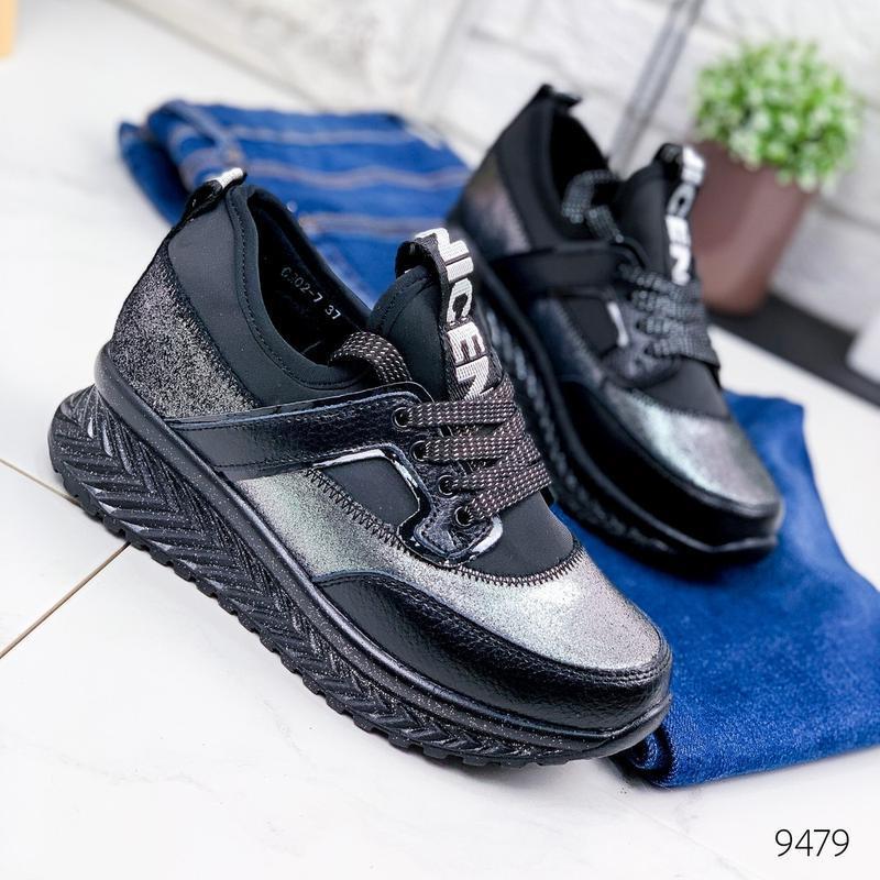 Кожаные демисезонные кроссовки, модные кроссовки на платформе ... - Фото 8
