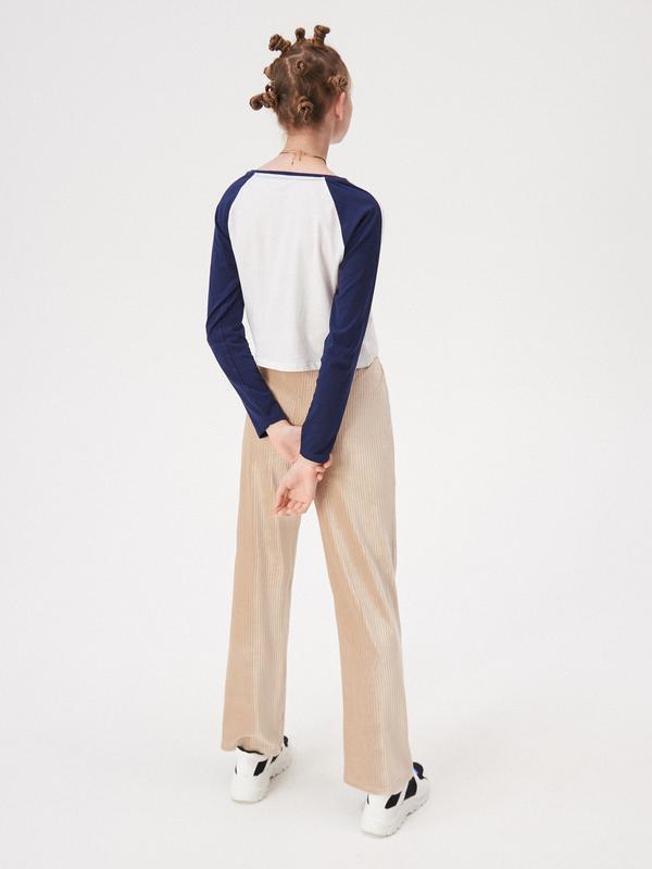 Новая короткая широкая белая кофта синие рукава реглан польша ... - Фото 3