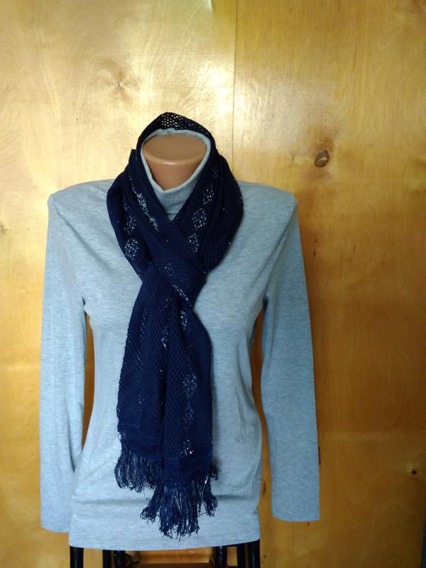 Мягкий ажурный вязаный шарфик шарф синий с серебрянной нить - Фото 2