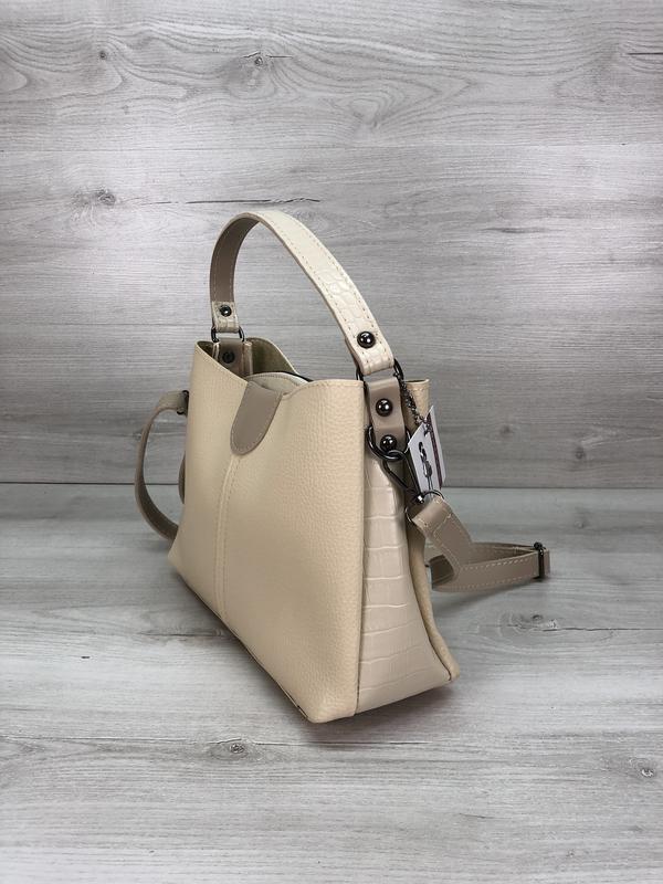 Модная женская сумка бежевая - Фото 3