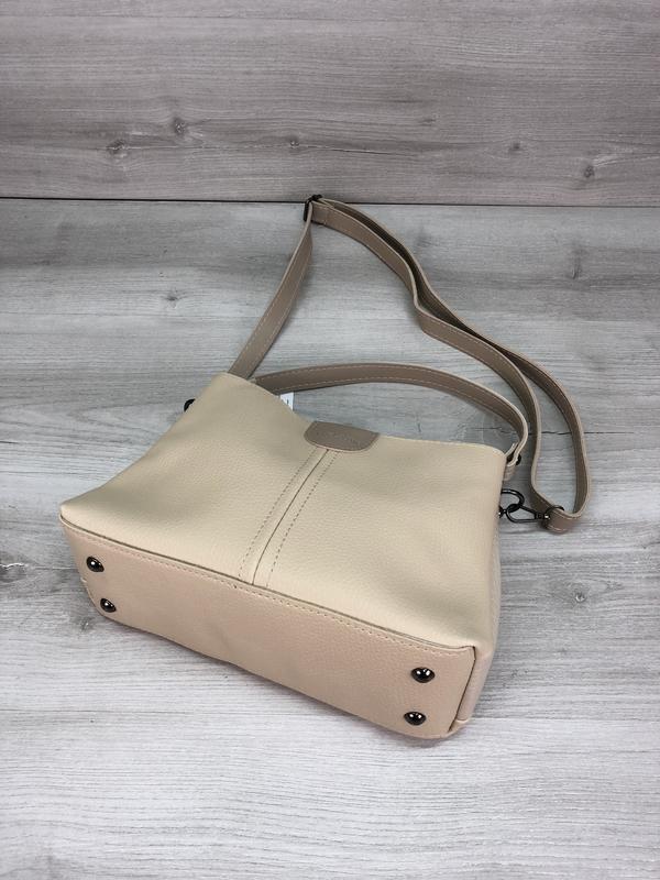 Модная женская сумка бежевая - Фото 4