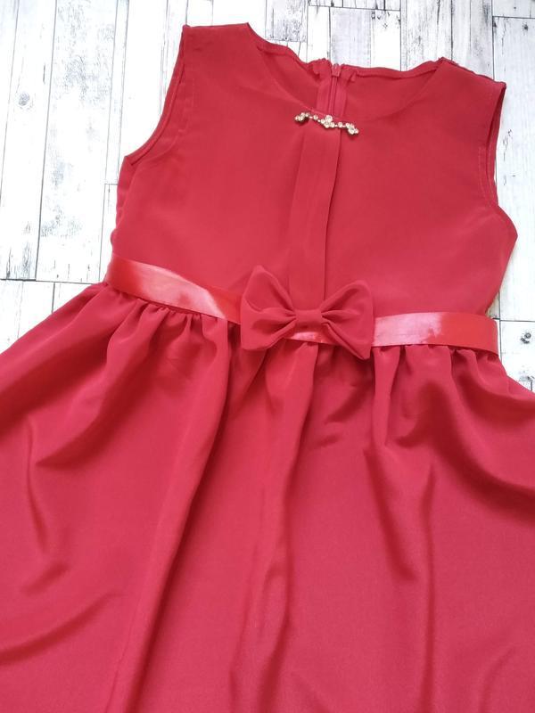 Нарядное красное платье на девочку 6-8 лет - Фото 2