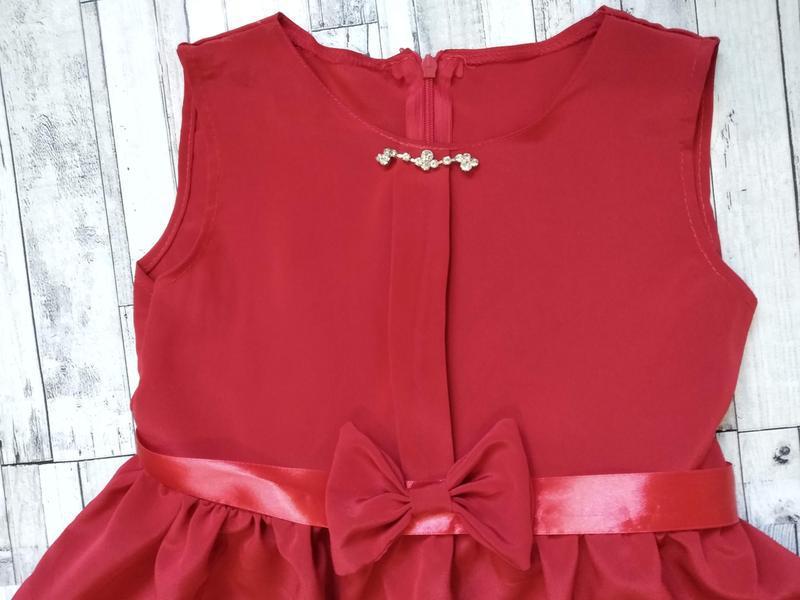 Нарядное красное платье на девочку 6-8 лет - Фото 3