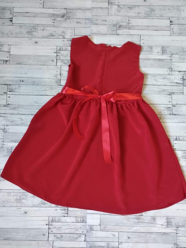 Нарядное красное платье на девочку 6-8 лет - Фото 4