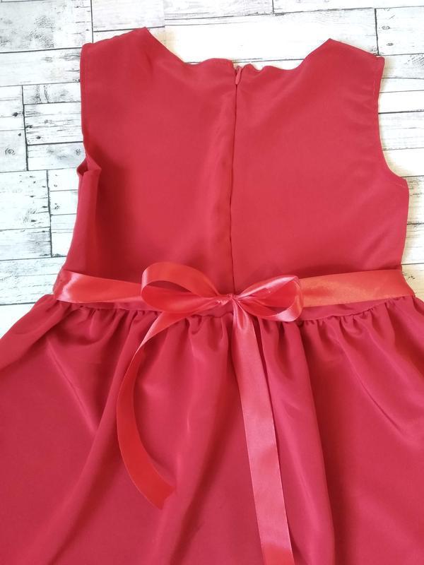 Нарядное красное платье на девочку 6-8 лет - Фото 5