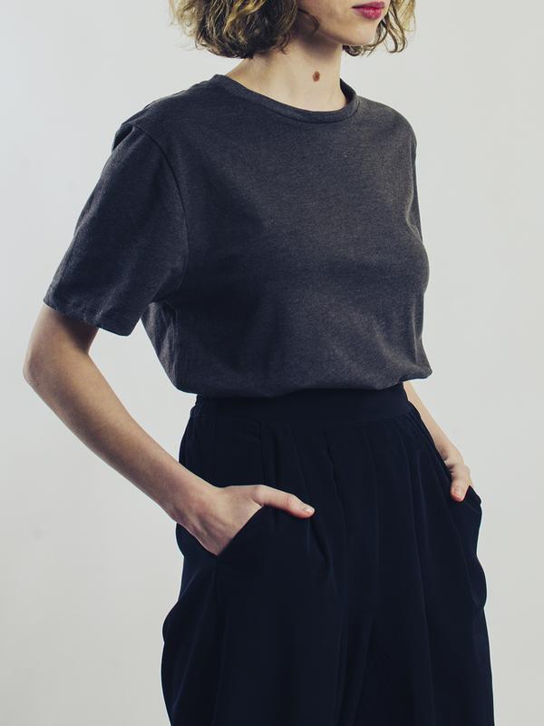 Базовая серая футболка, однотонная футболка оверсайз, футболка... - Фото 4