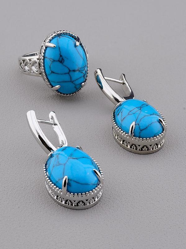 Серьги+кольцо 'pataya' бирюза (родий) 0697570