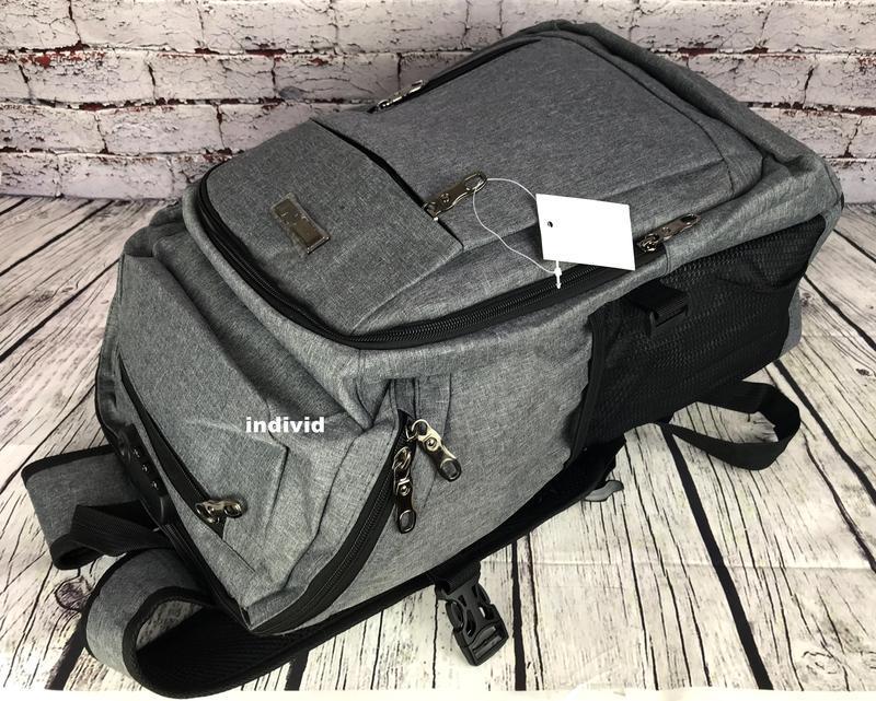 Качественный мужской рюкзак c j3 с usb антивор. сумка портфель... - Фото 3