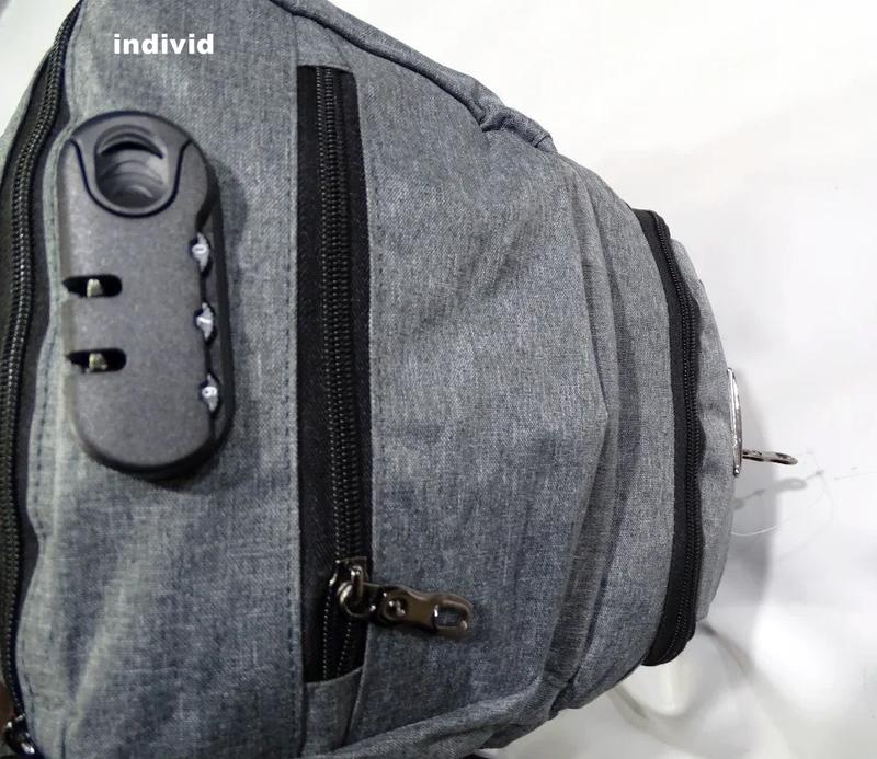 Качественный мужской рюкзак c j3 с usb антивор. сумка портфель... - Фото 4