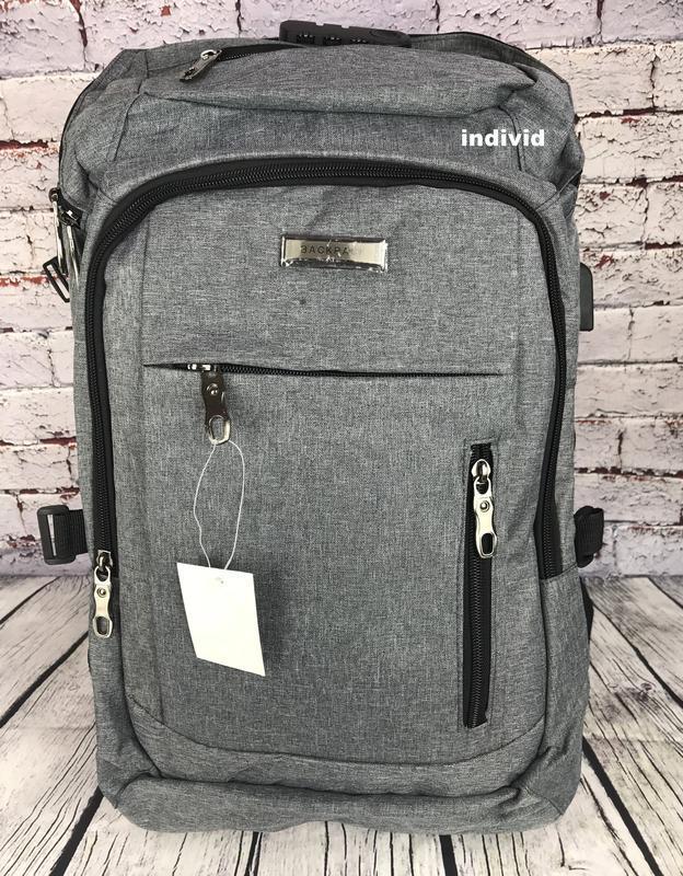 Качественный мужской рюкзак c j3 с usb антивор. сумка портфель... - Фото 5