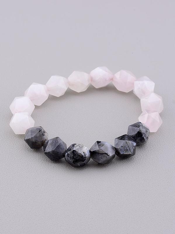 Браслет 'sunstones' лабрадор,розовый кварц 19 см 0707690
