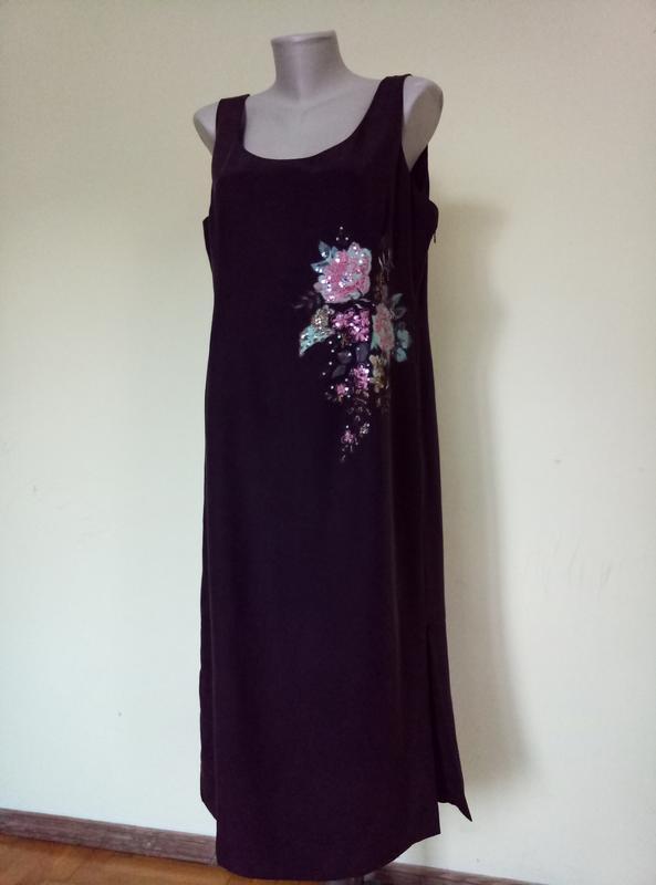 Шикарное шелковое платье с вышивкой - Фото 2