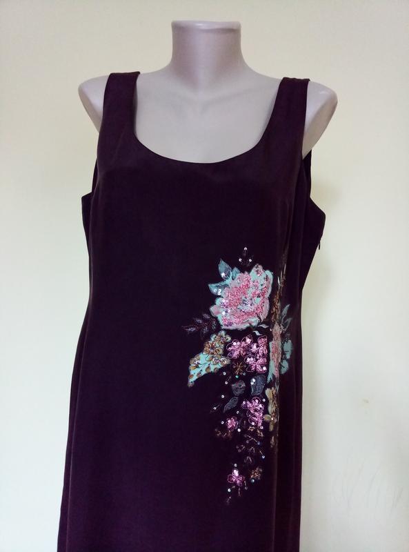 Шикарное шелковое платье с вышивкой - Фото 3
