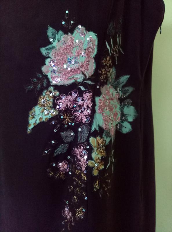 Шикарное шелковое платье с вышивкой - Фото 4