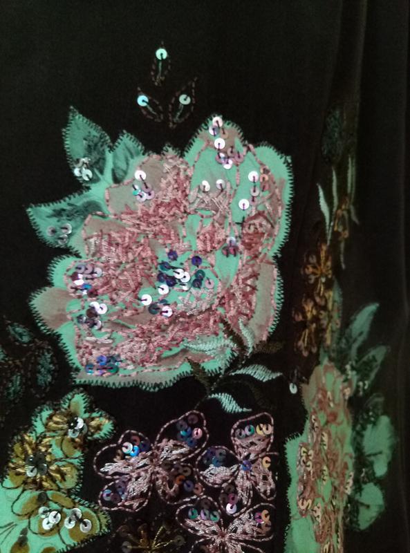 Шикарное шелковое платье с вышивкой - Фото 5